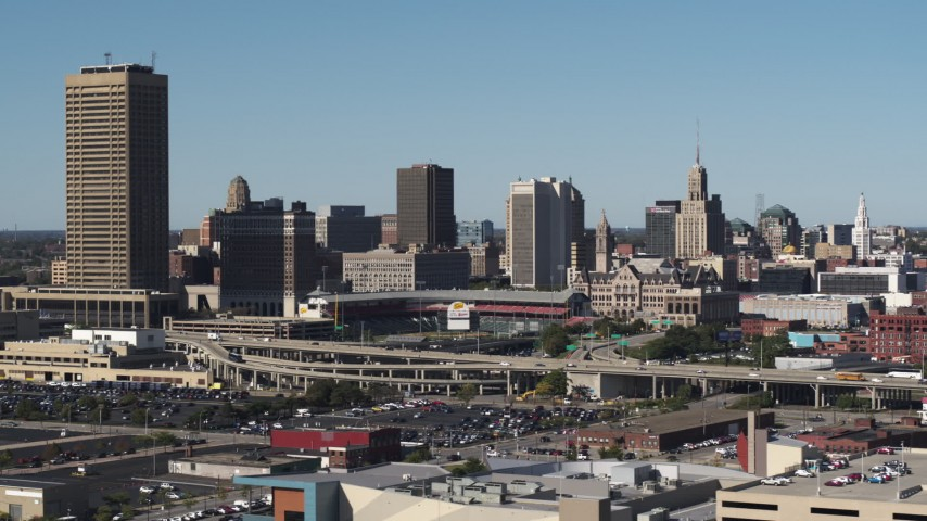 5.7K stock footage aerial video of the city's skyline behind baseball stadium, Downtown Buffalo, New York Aerial Stock Footage | DX0002_201_031