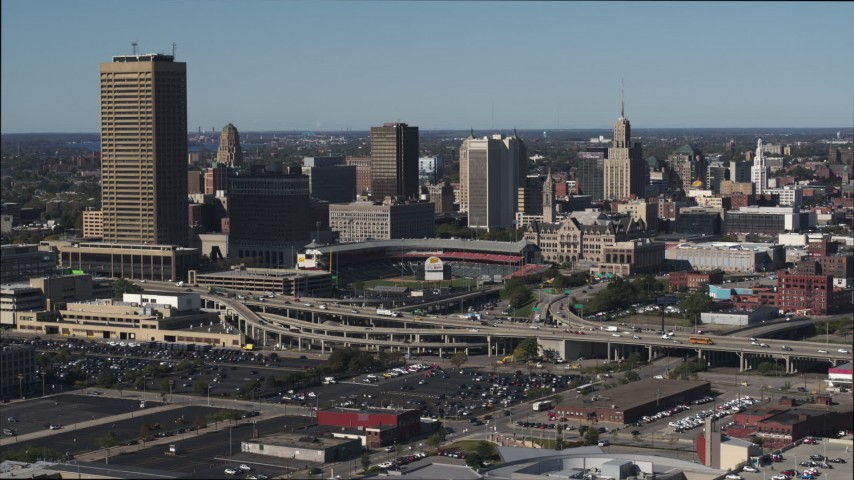 5.7K stock footage aerial video stationary view of the baseball stadium and skyline in Downtown Buffalo, New York Aerial Stock Footage | DX0002_201_042