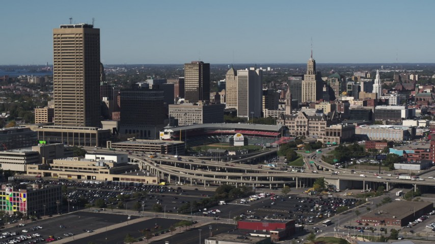 5.7K stock footage aerial video slowly flying by the baseball stadium and skyline in Downtown Buffalo, New York Aerial Stock Footage | DX0002_201_043