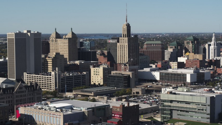 5.7K stock footage aerial video of the Rand Building in Downtown Buffalo, New York Aerial Stock Footage | DX0002_202_005
