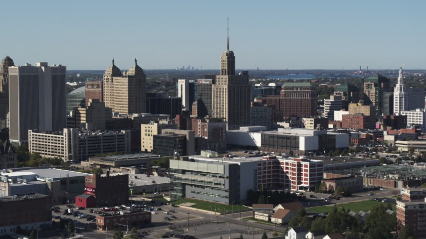 5.7K stock footage aerial video wide orbit of the Rand Building in Downtown Buffalo, New York Aerial Stock Footage | DX0002_202_006