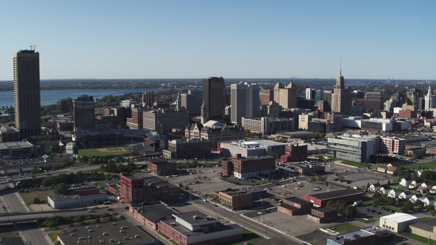 5.7K stock footage aerial video approach Erie Community College, baseball stadium, office towers in Downtown Buffalo, New York Aerial Stock Footage | DX0002_202_014