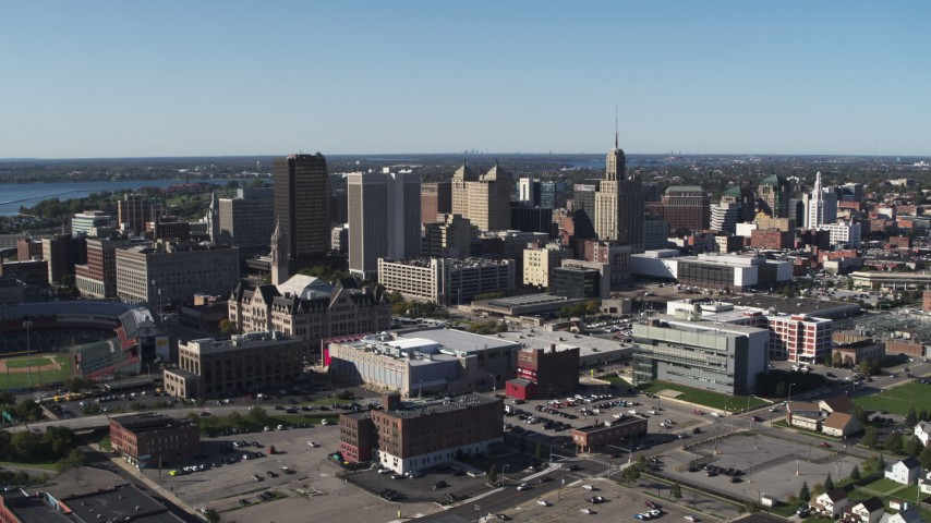 5.7K stock footage aerial video reverse view of community college and office towers in Downtown Buffalo, New York Aerial Stock Footage | DX0002_202_015