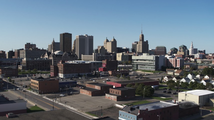 5.7K stock footage aerial video approach office towers near the community college in Downtown Buffalo, New York Aerial Stock Footage | DX0002_202_017