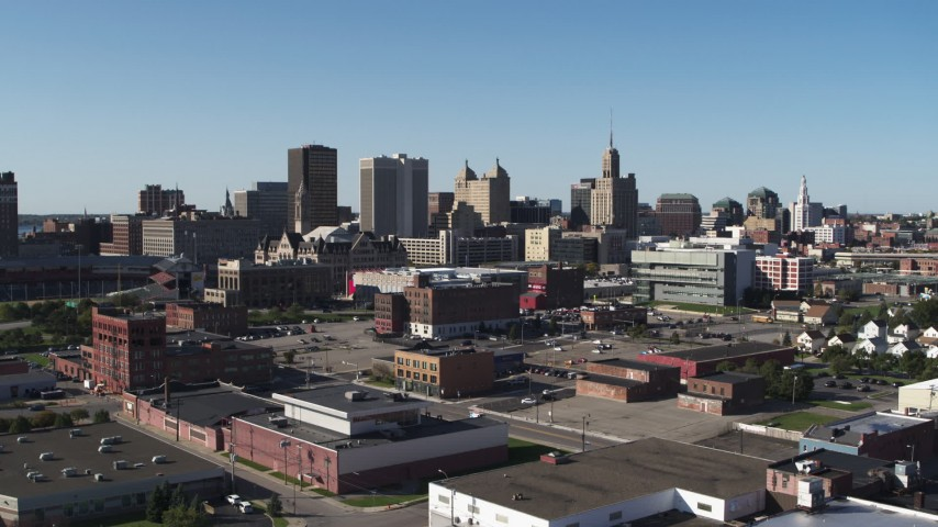 5.7K stock footage aerial video of office towers near the community college while descending, Downtown Buffalo, New York Aerial Stock Footage   DX0002_202_020