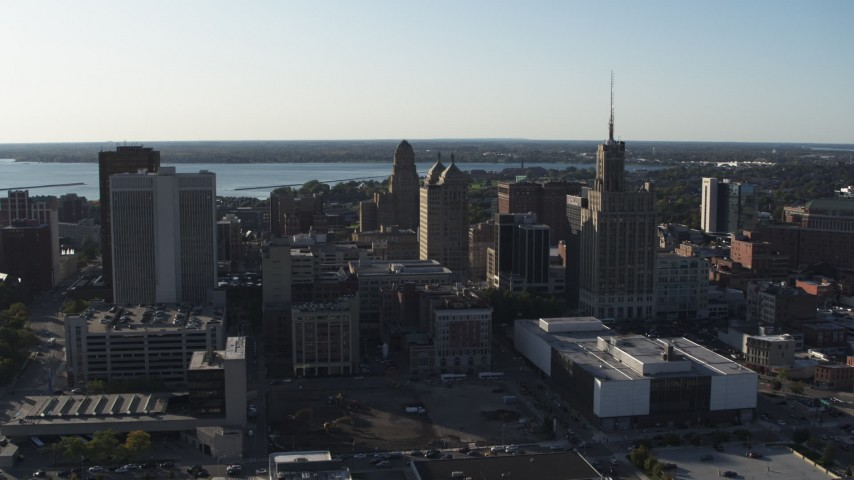 5.7K stock footage aerial video of flying away from office towers in Downtown Buffalo, New York Aerial Stock Footage | DX0002_203_001