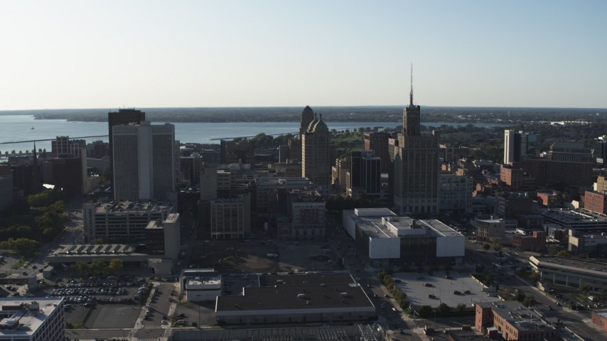 5.7K stock footage aerial video of flying by office towers in Downtown Buffalo, New York Aerial Stock Footage | DX0002_203_002