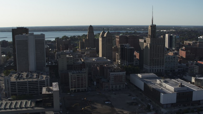 5.7K stock footage aerial video of orbit and fly away from office towers in Downtown Buffalo, New York Aerial Stock Footage | DX0002_203_004