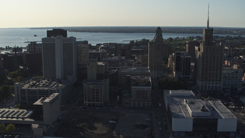 5.7K stock footage aerial video of three tall office towers in Downtown Buffalo, New York Aerial Stock Footage | DX0002_203_016