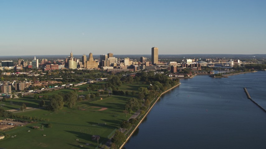 5.7K stock footage aerial video of a wide view of the city skyline in Downtown Buffalo, New York Aerial Stock Footage | DX0002_203_018