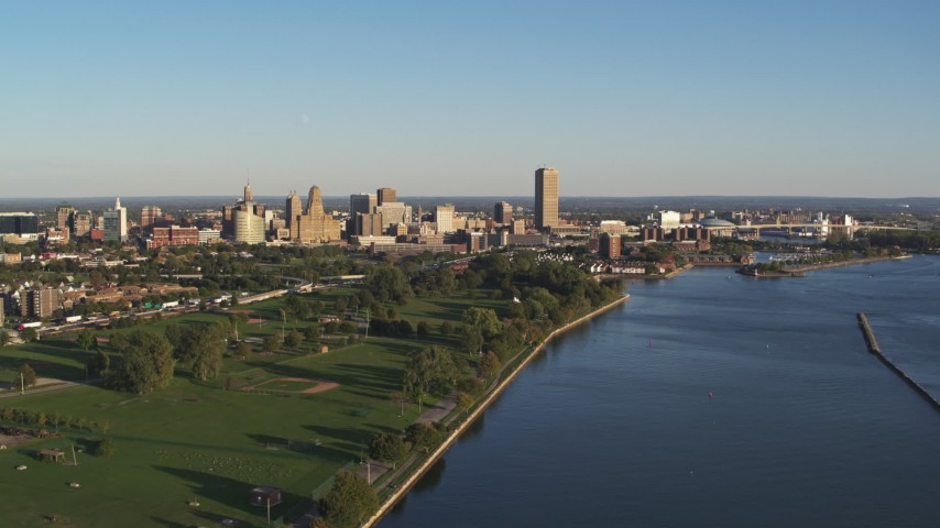 5.7K stock footage aerial video a wide view of the city's skyline in Downtown Buffalo, New York Aerial Stock Footage | DX0002_203_019