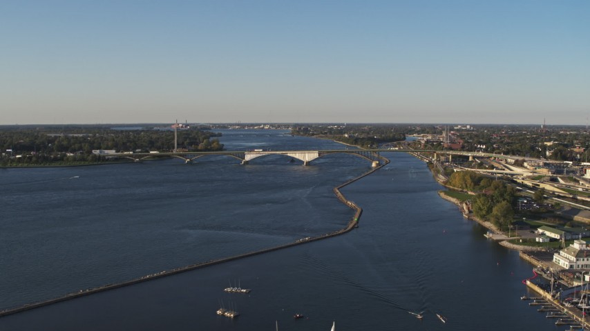 5.7K stock footage aerial video a wide view of the Peace Bridge in Buffalo, New York Aerial Stock Footage | DX0002_203_020