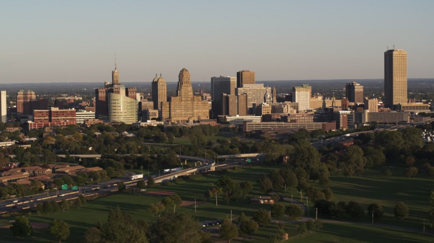 5.7K stock footage aerial video of city hall and skyline at sunset, Downtown Buffalo, New York Aerial Stock Footage | DX0002_203_038