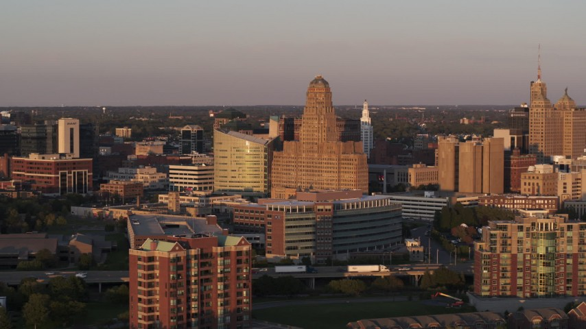 5.7K stock footage aerial video of a view of city hall at sunset, Downtown Buffalo, New York Aerial Stock Footage | DX0002_204_005
