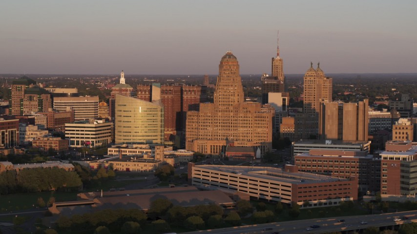 5.7K stock footage aerial video of flying by city hall at sunset, Downtown Buffalo, New York Aerial Stock Footage | DX0002_204_006