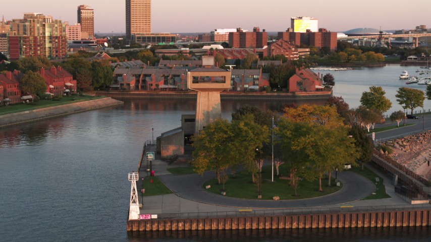 5.7K stock footage aerial video orbit a lakeside observation deck at sunset, Buffalo, New York Aerial Stock Footage | DX0002_204_020
