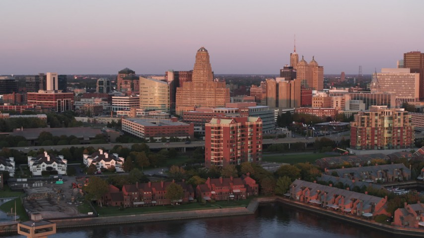 5.7K stock footage aerial video of city hall, courthouse and office buildings at sunset, Downtown Buffalo, New York Aerial Stock Footage | DX0002_204_023