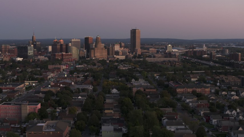 5.7K stock footage aerial video of Seneca One Tower and the city's skyline at twilight, Downtown Buffalo, New York Aerial Stock Footage | DX0002_204_030