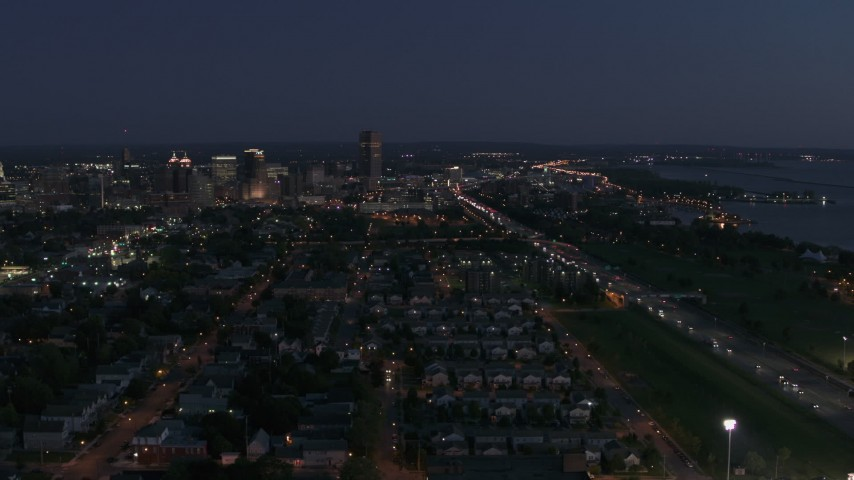 5.7K stock footage aerial video wide view of Seneca One Tower and skyline at twilight, Downtown Buffalo, New York Aerial Stock Footage | DX0002_204_054