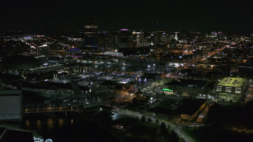 5.7K stock footage aerial video of flying by the city skyline at night, Downtown Buffalo, New York Aerial Stock Footage | DX0002_205_001