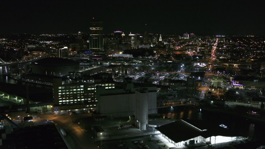 5.7K stock footage aerial video of the city skyline at night, Downtown Buffalo, New York Aerial Stock Footage | DX0002_205_002