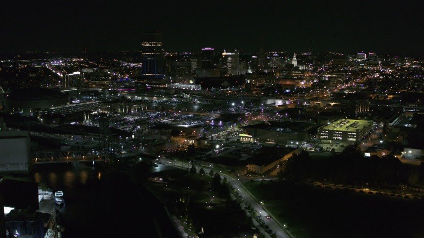 5.7K stock footage aerial video of flying by the city skyline at night, Downtown Buffalo, New York Aerial Stock Footage | DX0002_205_003