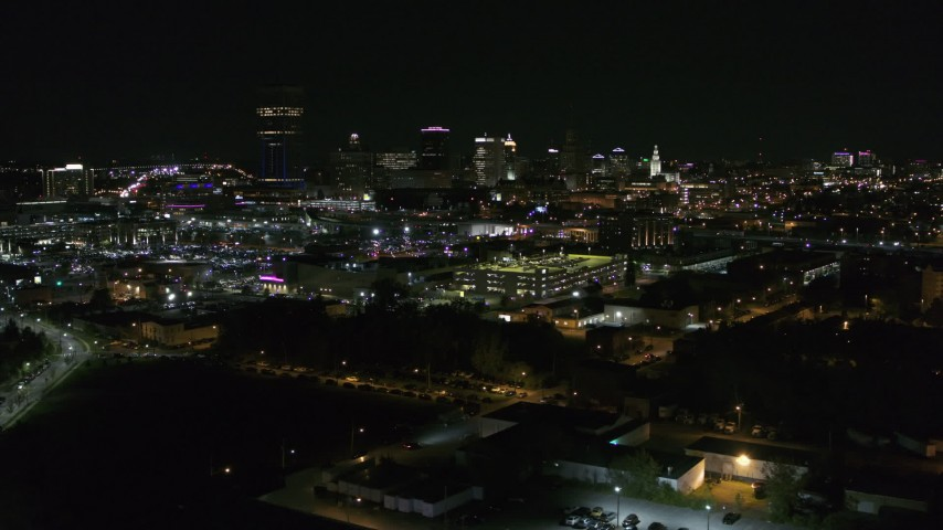 5.7K stock footage aerial video of passing by the city skyline at night, Downtown Buffalo, New York Aerial Stock Footage | DX0002_205_005