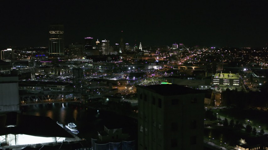 5.7K stock footage aerial video flyby the skyline at night, reveal grain elevators, Downtown Buffalo, New York Aerial Stock Footage | DX0002_205_006