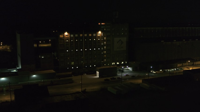5.7K stock footage aerial video of a flour mill at night, Buffalo, New York Aerial Stock Footage | DX0002_205_023