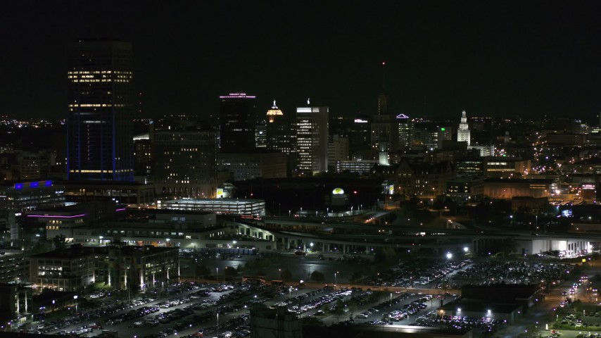 5.7K stock footage aerial video of skyscraper and office towers at night, Downtown Buffalo, New York Aerial Stock Footage | DX0002_205_026