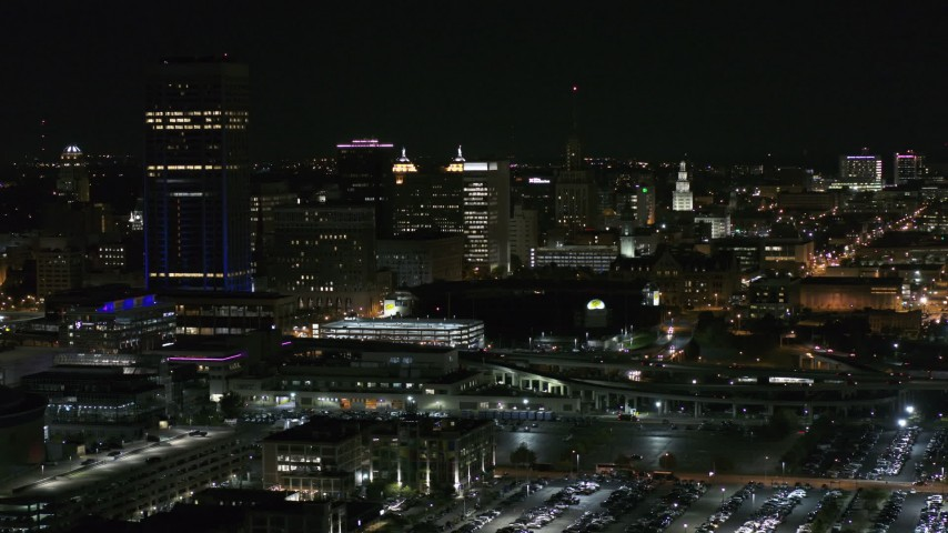 5.7K stock footage aerial video of flying by skyscraper and office towers at night, Downtown Buffalo, New York Aerial Stock Footage | DX0002_205_027