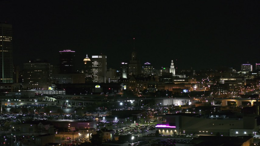 5.7K stock footage aerial video of a view of office towers at night, Downtown Buffalo, New York Aerial Stock Footage | DX0002_205_030