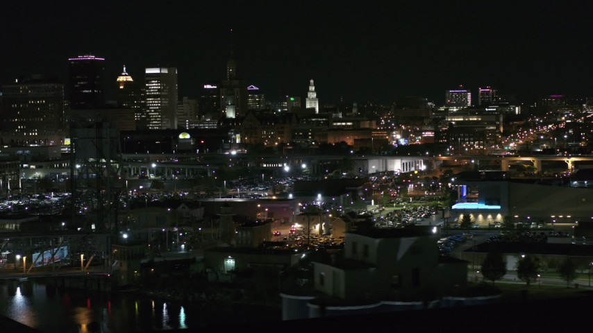 5.7K stock footage aerial video of a view of office towers an city buildings at night, Downtown Buffalo, New York Aerial Stock Footage | DX0002_205_031