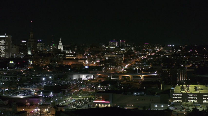 5.7K stock footage aerial video of distant Buffalo General Medical Center at night, Downtown Buffalo, New York Aerial Stock Footage | DX0002_205_038