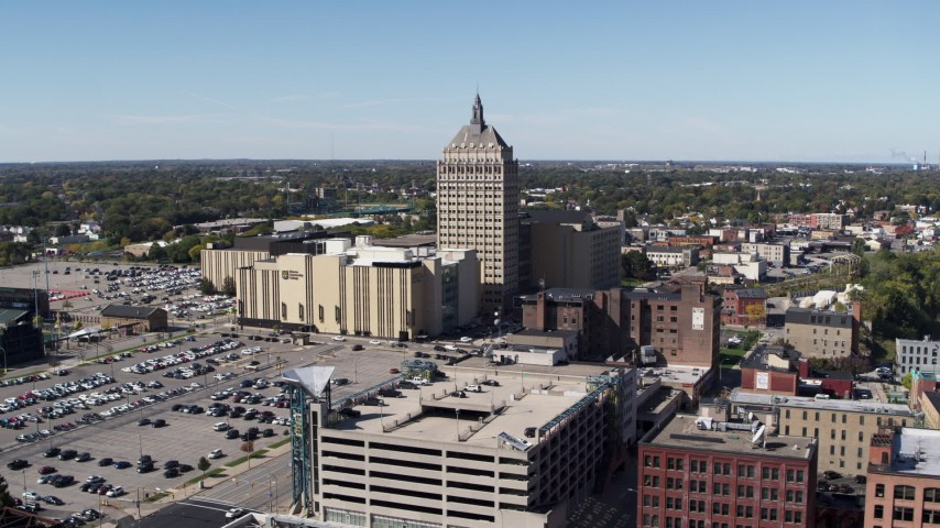 5.7K stock footage aerial video orbit and approach Kodak Tower and college in Rochester, New York Aerial Stock Footage | DX0002_206_019