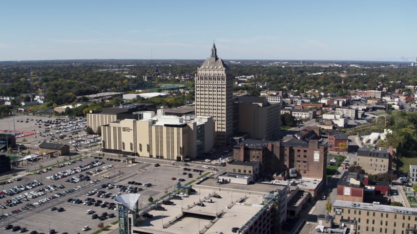 5.7K stock footage aerial video ascend away from Kodak Tower and Monroe Community College, Rochester, New York Aerial Stock Footage | DX0002_206_021
