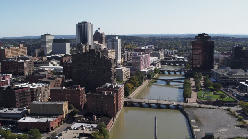 5.7K stock footage aerial video flyby river bridges and skyline Downtown Rochester, New York Aerial Stock Footage | DX0002_207_004