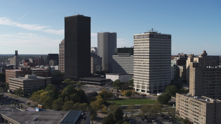 5.7K stock footage aerial video of Xerox Tower and Five Star Bank Plaza in Downtown Rochester, New York Aerial Stock Footage | DX0002_208_001