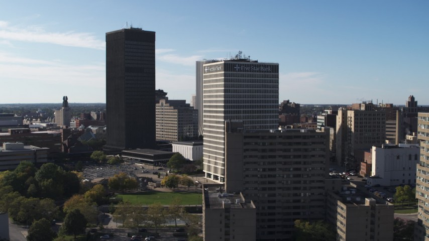 5.7K stock footage aerial video of orbiting Xerox Tower and Five Star Bank Plaza in Downtown Rochester, New York Aerial Stock Footage | DX0002_208_002