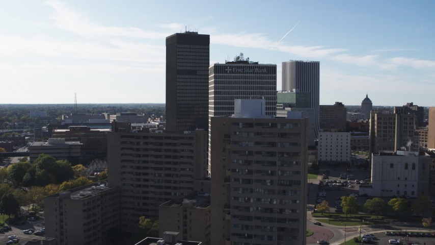 5.7K stock footage aerial video stationary view of Xerox Tower and Five Star Bank Plaza in Downtown Rochester, New York Aerial Stock Footage | DX0002_208_003