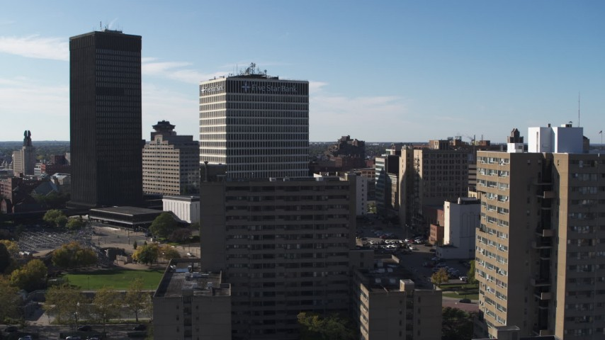 5.7K stock footage aerial video of a stationary view of Five Star Bank Plaza in Downtown Rochester, New York Aerial Stock Footage | DX0002_208_007