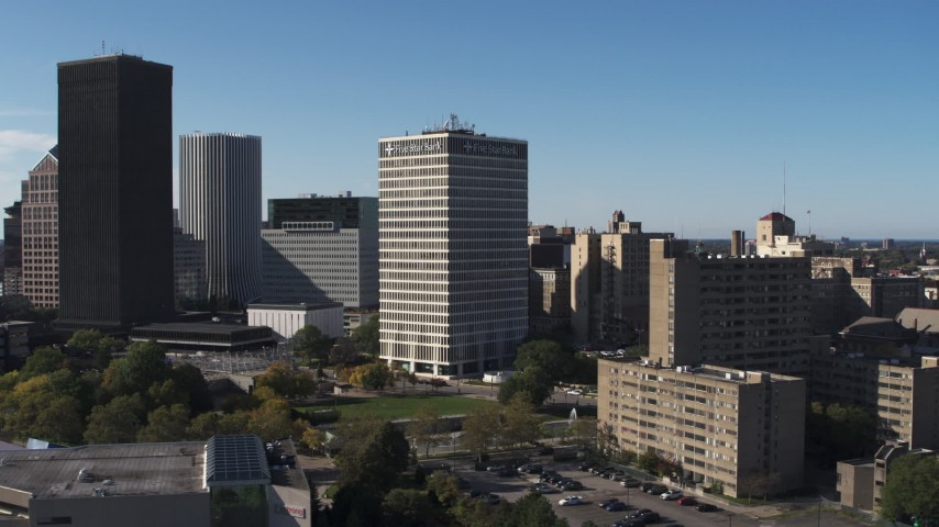 5.7K stock footage aerial video slowly orbit Five Star Bank Plaza in Downtown Rochester, New York Aerial Stock Footage | DX0002_208_009