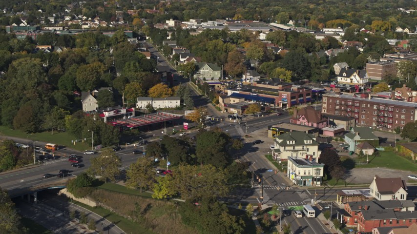 5.7K stock footage aerial video orbit the intersection of Main and Union Streets in Rochester, New York Aerial Stock Footage | DX0002_208_026