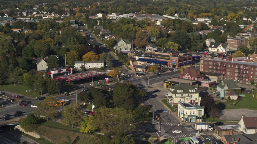 5.7K stock footage aerial video slowly orbit the intersection of Main and Union Streets in Rochester, New York Aerial Stock Footage | DX0002_208_027