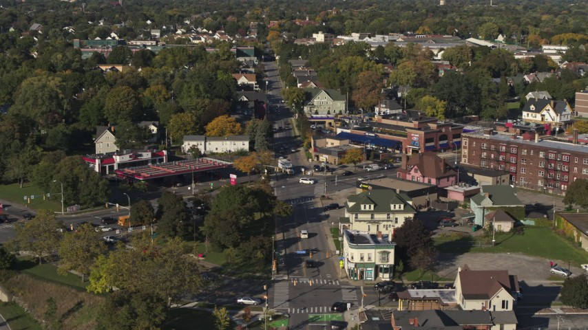 5.7K stock footage aerial video flying away from the intersection of Main and Union Streets in Rochester, New York Aerial Stock Footage | DX0002_208_028