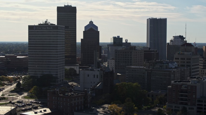 5.7K stock footage aerial video of skyscrapers and office towers in Downtown Rochester, New York Aerial Stock Footage | DX0002_208_030