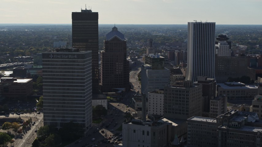 5.7K stock footage aerial video of flying by skyscrapers and office towers in Downtown Rochester, New York Aerial Stock Footage | DX0002_208_032