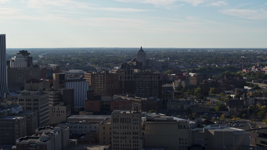 5.7K stock footage aerial video wide view of Kodak Tower seen from Downtown Rochester, New York Aerial Stock Footage | DX0002_208_035