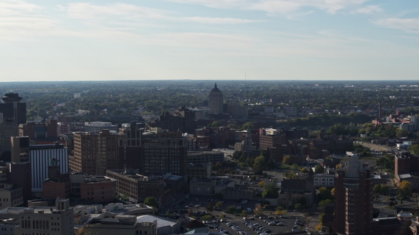 5.7K stock footage aerial video wide view of Kodak Tower seen from buildings in Downtown Rochester, New York Aerial Stock Footage | DX0002_208_036