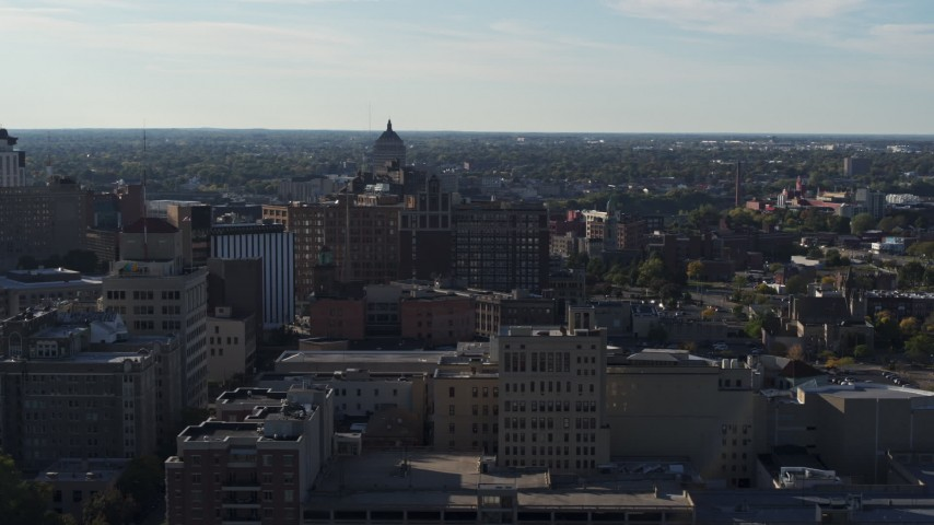 5.7K stock footage aerial video wide view of Temple Building in Downtown Rochester, New York Aerial Stock Footage | DX0002_208_037